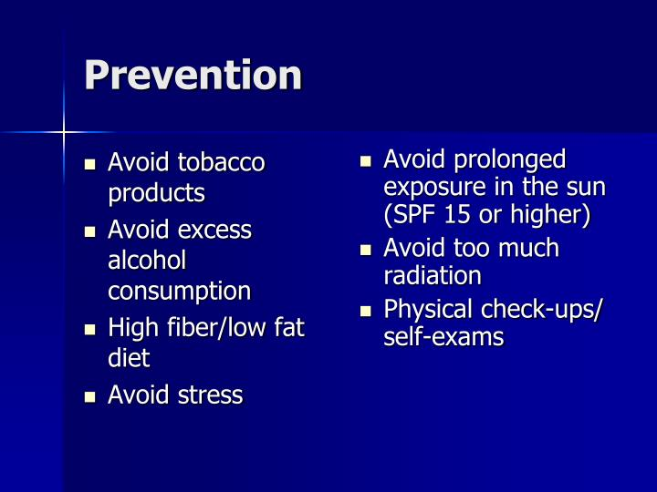 Avoid tobacco products