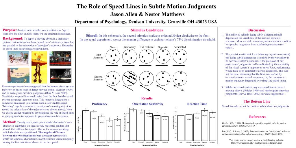 PPT - The Role of Speed Lines in Subtle Motion Judgments PowerPoint