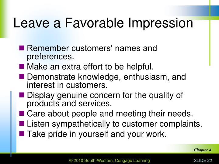 Leave a Favorable Impression