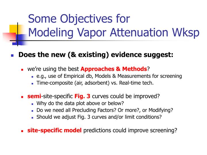 Some Objectives for