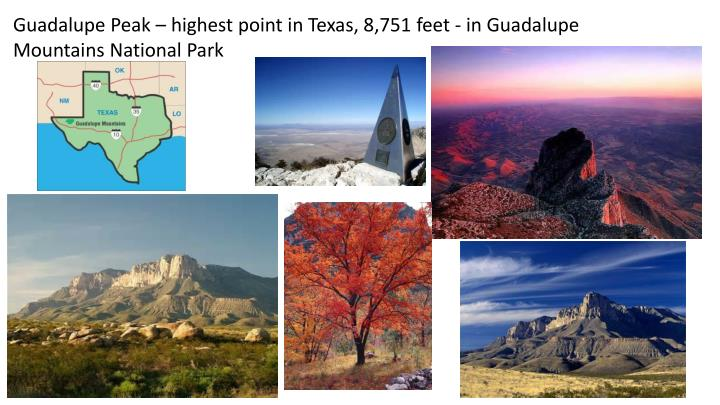 Guadalupe Peak – highest point in Texas, 8,751 feet - in Guadalupe Mountains National Park