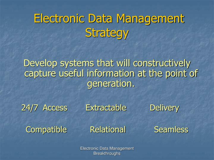 Electronic Data Management Strategy
