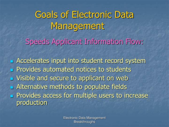 Goals of Electronic Data Management