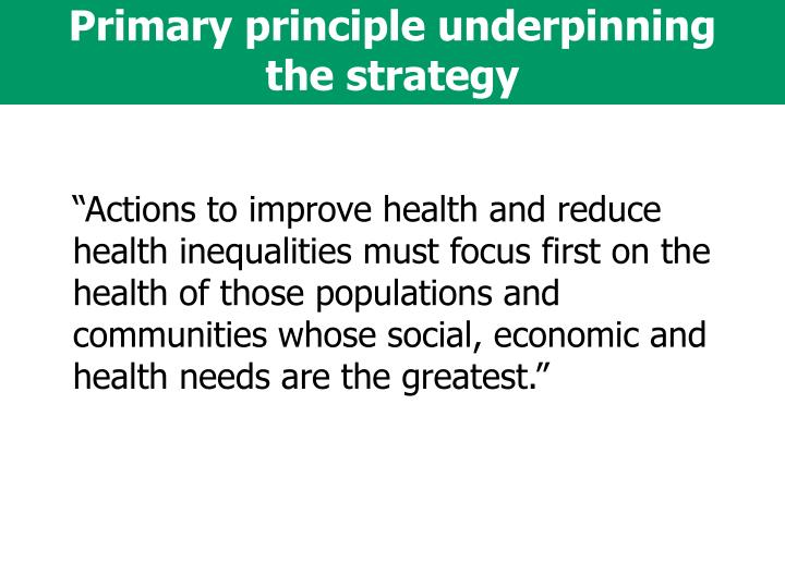 Primary principle underpinning the strategy