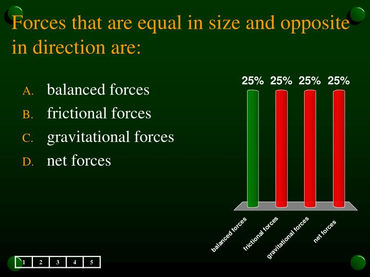 Forces that are equal in size and opposite in direction are