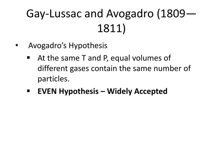Gay-Lussac and Avogadro (1809—1811)