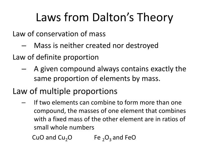 Laws from Dalton's Theory