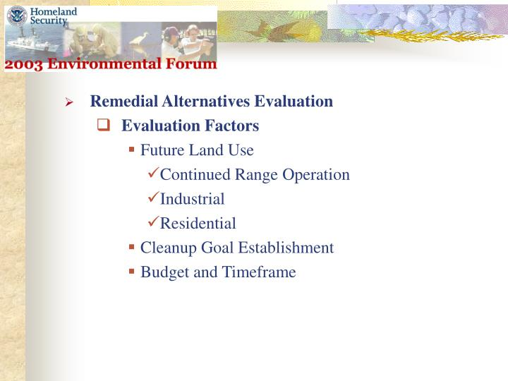 Remedial Alternatives Evaluation