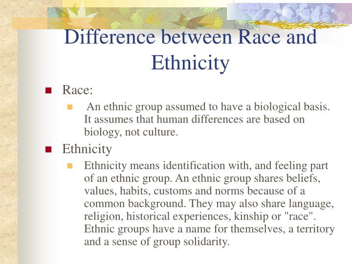 the difference in race and ethnicity essay Like the difference between gender and sex, or culture and society, the difference between race and ethnicity is a tricky one let's start with definition of those two terms and proceed further to the differences and similarities between them.
