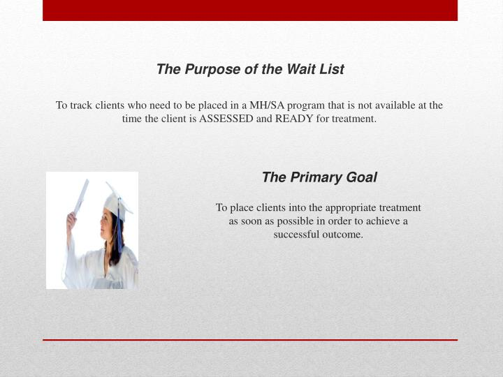 The Purpose of the Wait List