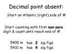 decimal point absent