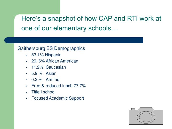Here's a snapshot of how CAP and RTI work at one of our elementary schools…