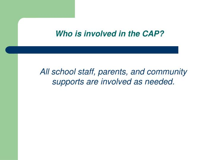 Who is involved in the CAP?
