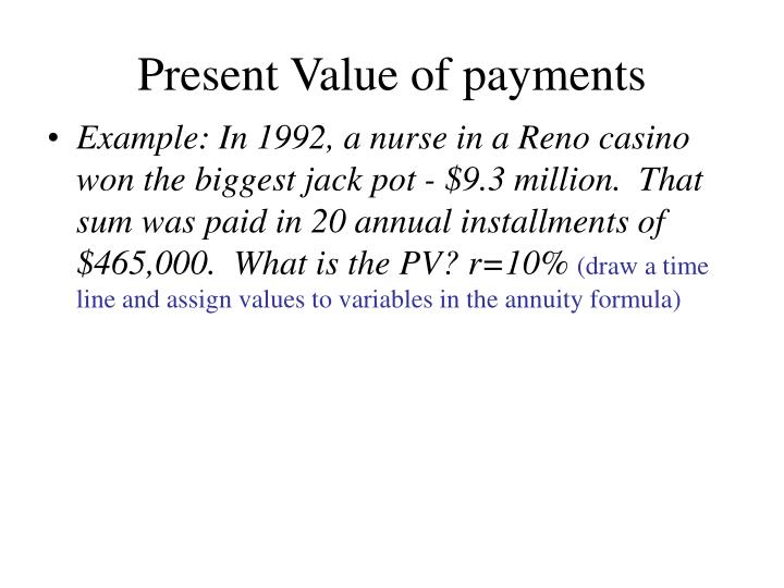 Present Value of payments
