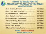 thanks to wasbo for the opportunity to speak to you today all area code 608
