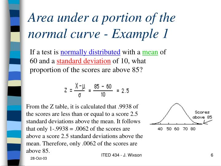 Area under a portion of the normal curve - Example 1