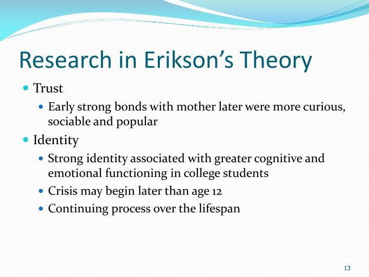 erik erikson research Erik h erikson's (1902-1994) theory reflects in part bis psychoanalytic training   est expanded from art and teaching to also include the study of psychoanalysis.