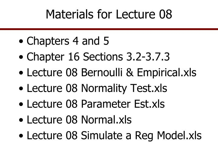 materials for lecture 08 n.