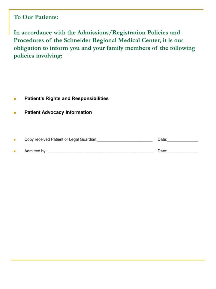 Patient's Rights and Responsibilities