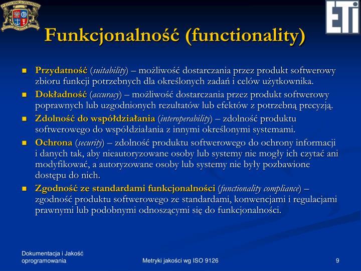 Funkcjonalność (functionality)