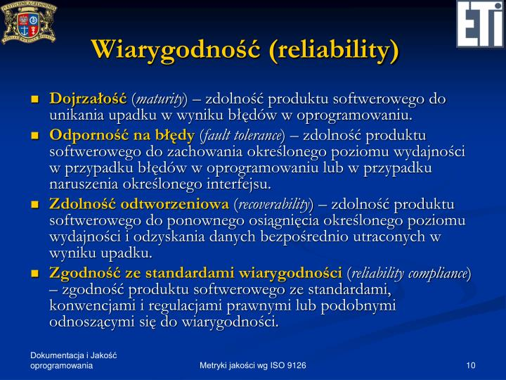 Wiarygodność (reliability)