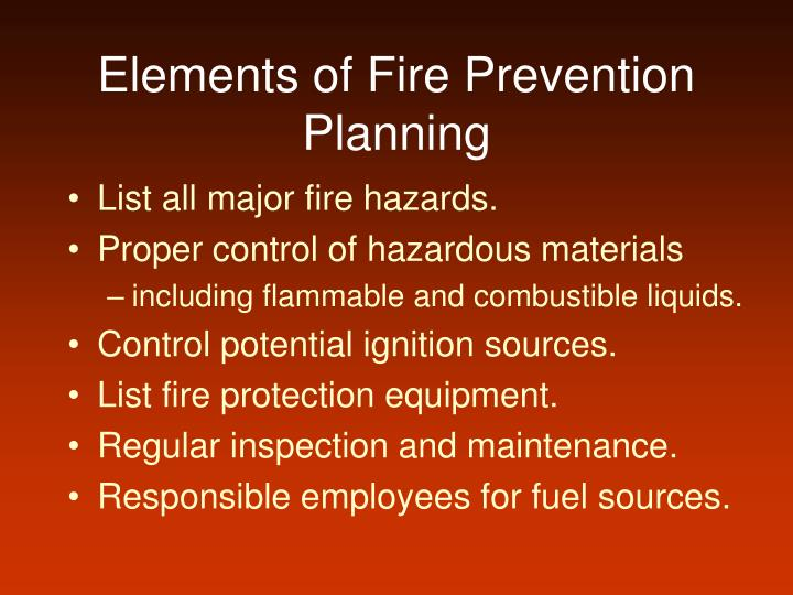 Elements of fire prevention planning