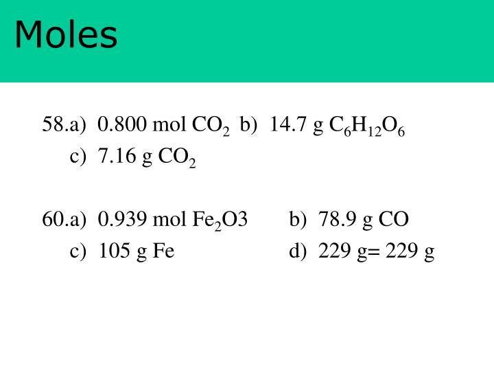 58.a)  0.800 mol CO