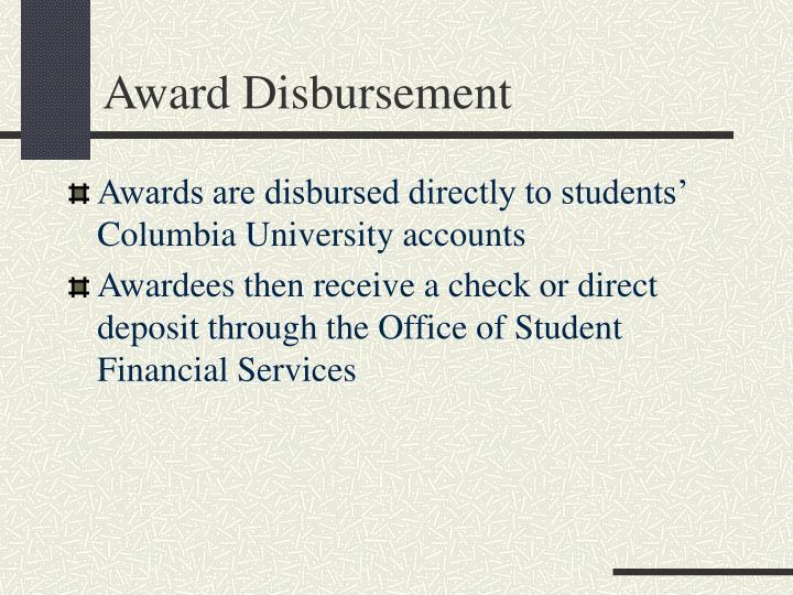 Award Disbursement
