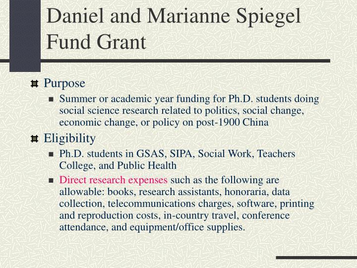 Daniel and Marianne Spiegel Fund Grant