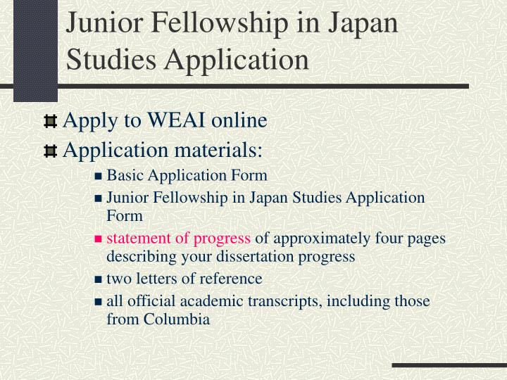 Junior Fellowship in Japan Studies Application