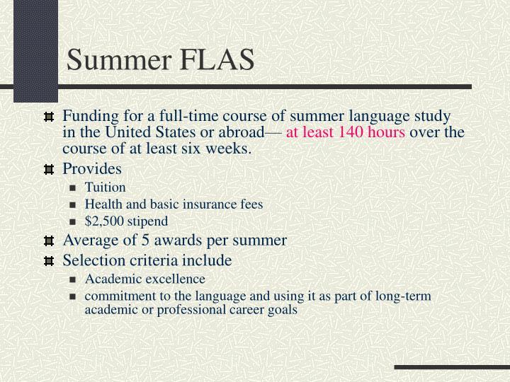 Summer FLAS