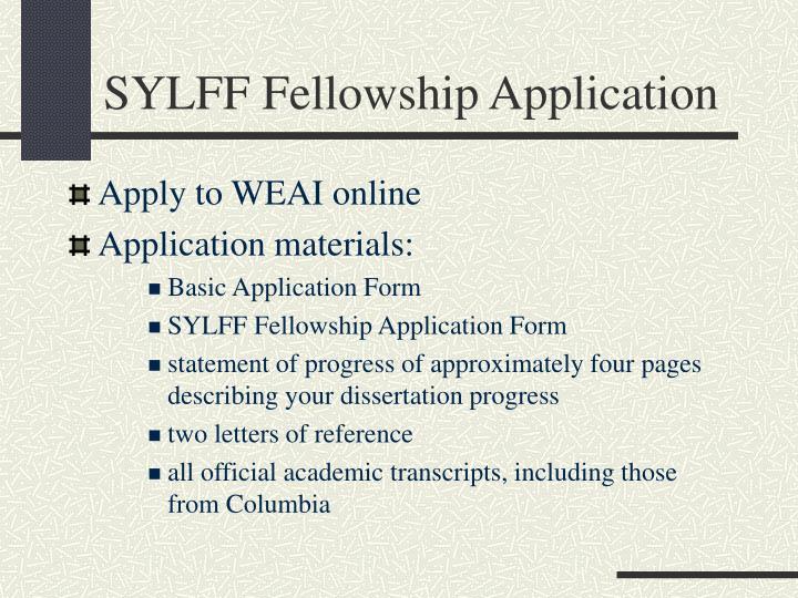 SYLFF Fellowship Application