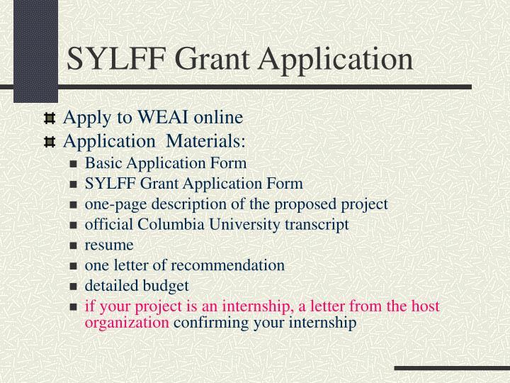 SYLFF Grant Application