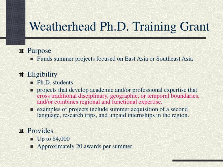 Weatherhead Ph.D. Training Grant