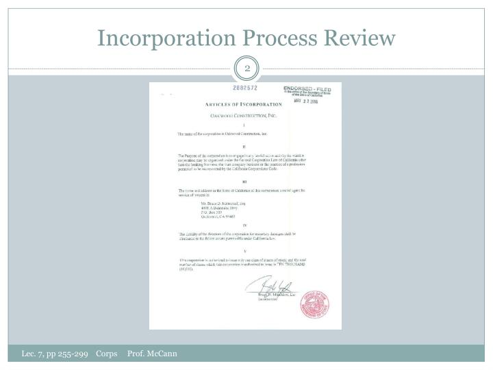 Incorporation process review