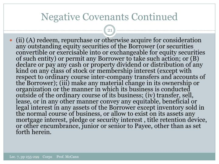 Negative Covenants Continued