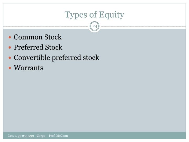 Types of Equity