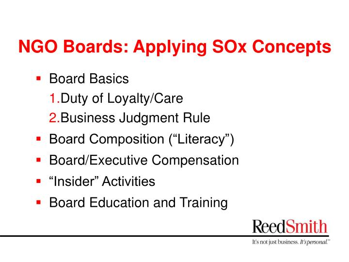 Ngo boards applying sox concepts