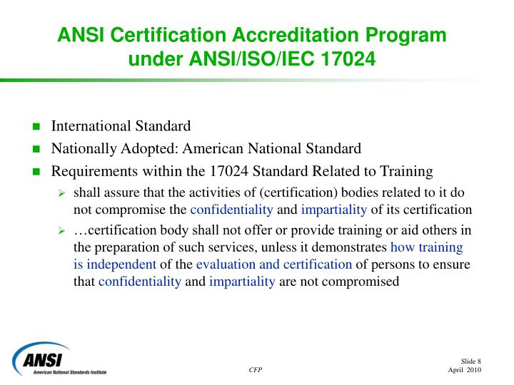 ANSI Certification Accreditation Program