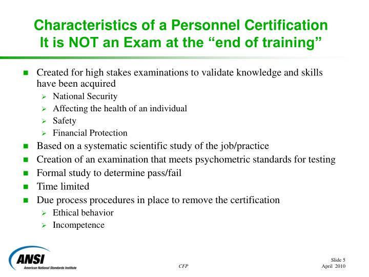 Characteristics of a Personnel Certification