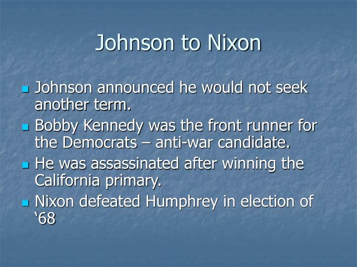 Johnson to Nixon