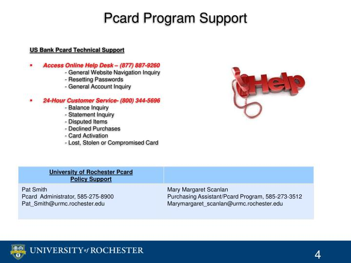 Pcard Program Support
