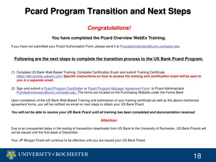 Pcard Program Transition and Next Steps