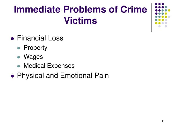 Immediate Problems of Crime Victims