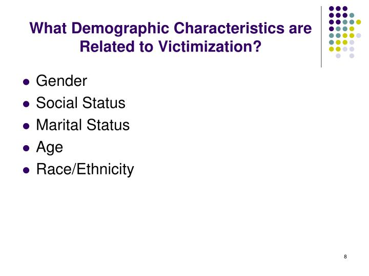 What Demographic Characteristics are Related to Victimization?