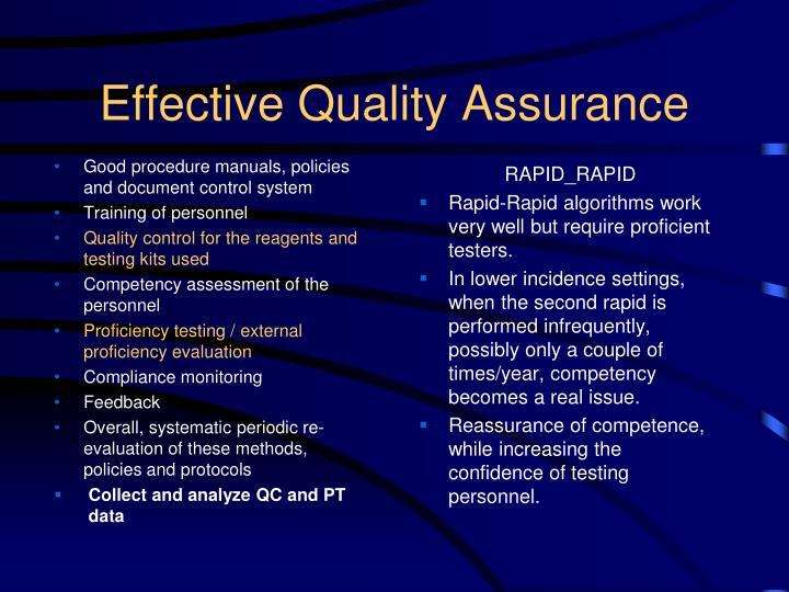 Effective Quality Assurance
