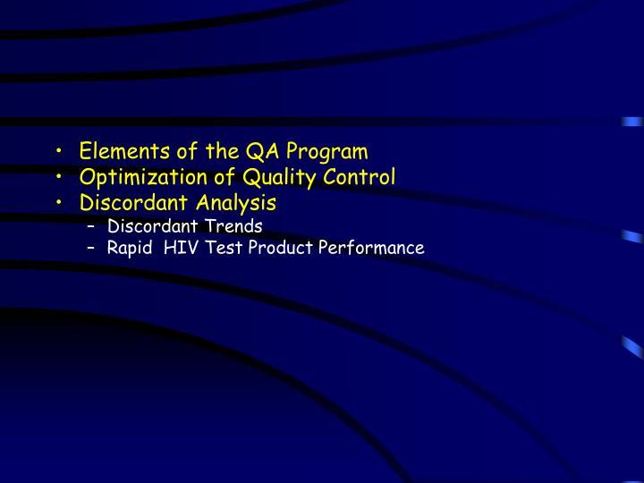Elements of the QA Program