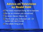 advice on television by roald dahl