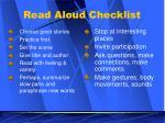 read aloud checklist