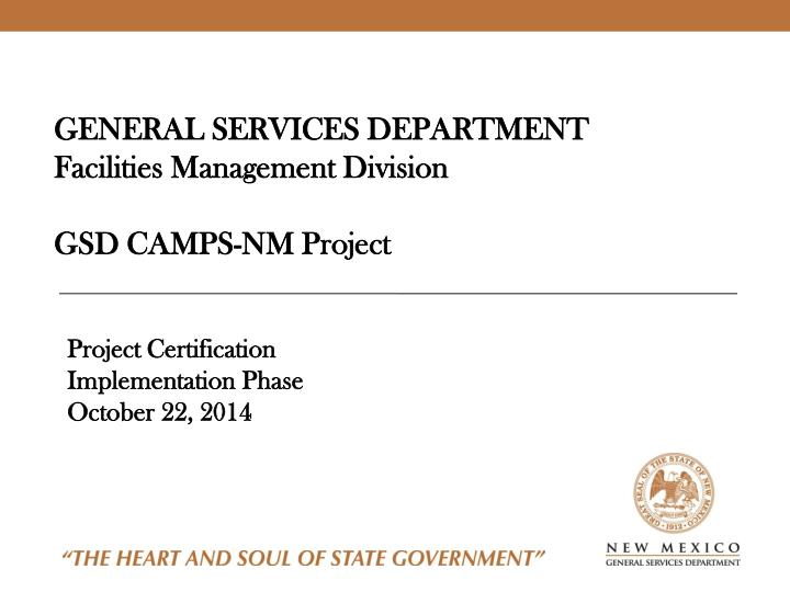 PPT - GENERAL SERVICES DEPARTMENT Facilities Management Division GSD ...